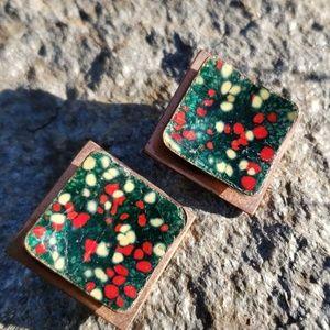 Vtg Matisse Sig Copper Red Green Splatter Earrings
